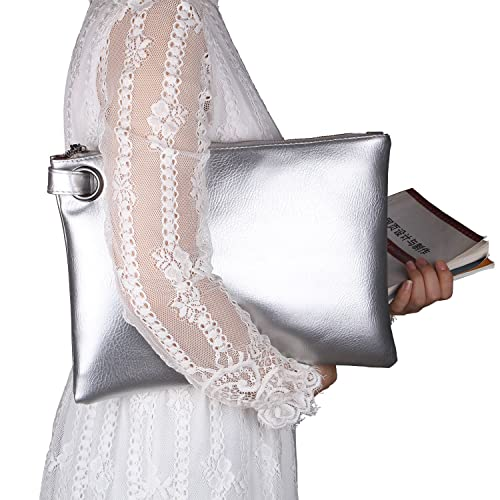017422b98a22 ZOONAI d Clutch Bag Purse, Womens Large leather Evening Wristlet Handbag