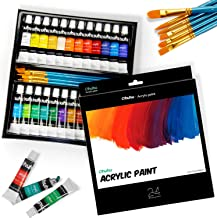 Ohuhu Acrylic Paint Tubes Set - 24x Rich Pigment Colors (12 ml, 0.42 oz.) - 6 x Art Brushes - for Painting Canvas, Clay, W...