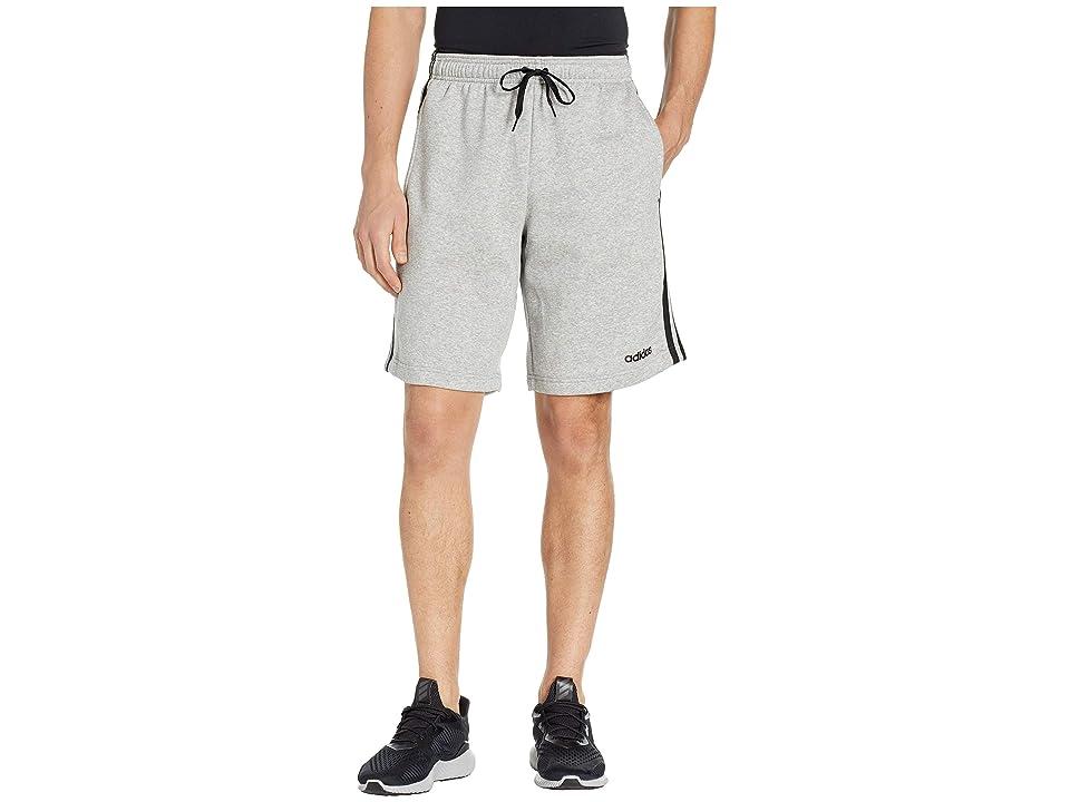 adidas Essentials 3-Stripes Fleece Shorts (Medium Grey Heather/Black) Men's Shorts
