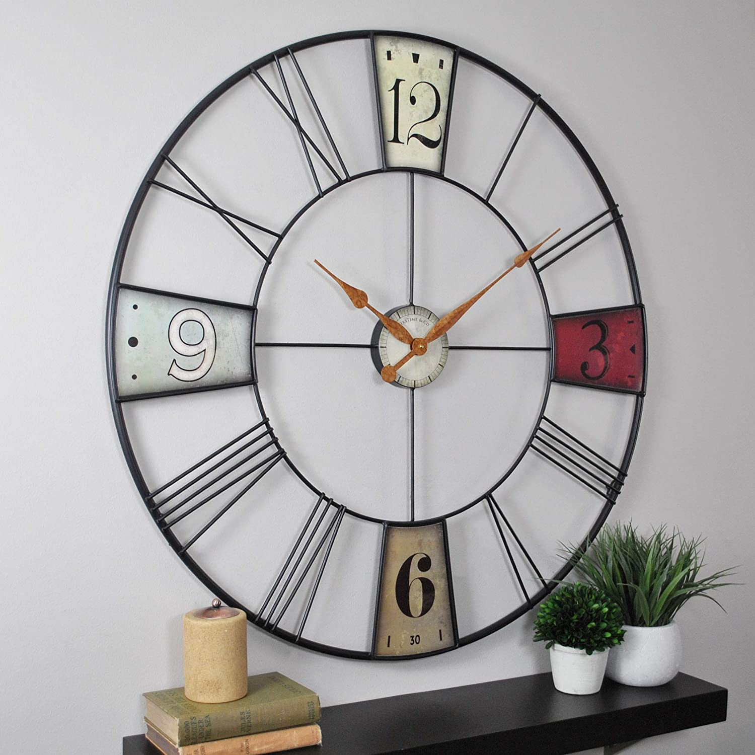 FirsTime 31014 Vibrant Plaques Wall Clock, Multicolor