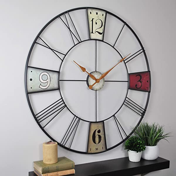 FirsTime Co 31014 Vibrant Plaques Wall Clock 36 Multicolor
