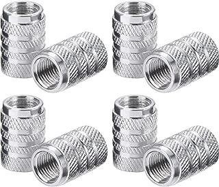 eBoot Tire Stem Valve Caps Aluminium Car Dustproof Caps Tire Wheel Stem Air Valve Caps, 8 Pieces (Silver)