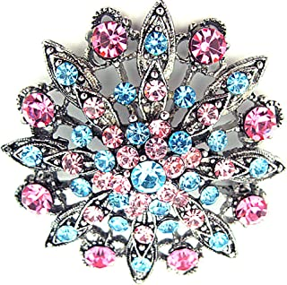 Pink & Aquamarine Blue Austrian Crystal Flower Brooch Pendant on Silk Ribbon Necklace