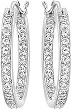 """Swarovski 1172374 Women's Summerset Rhodium-Plated Hoop Clear Crystal Pierced Earrings, 3/4"""" Diameter"""