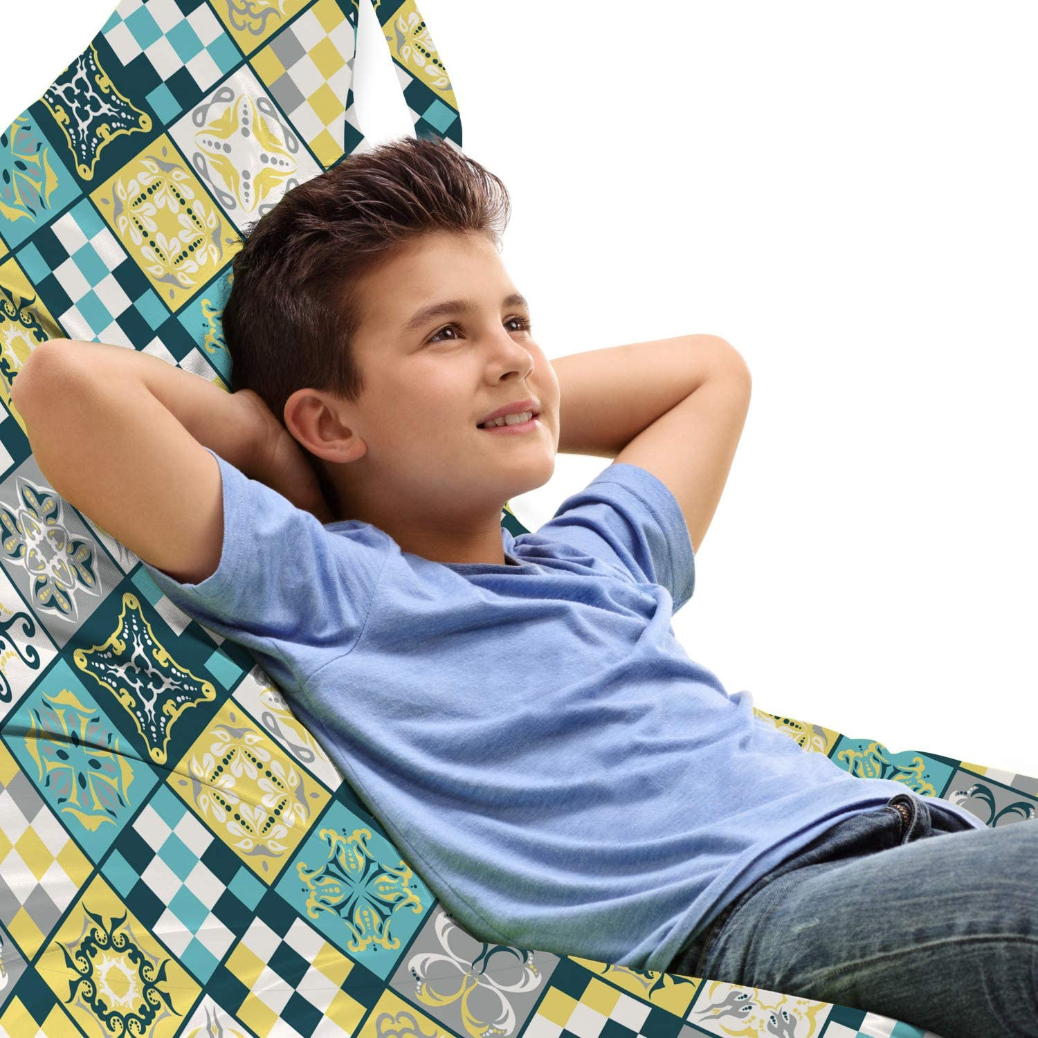 Lunarable Abstract Max 70% OFF Lounger Free shipping on posting reviews Chair Bag Style Eth Folkloric Mosaic
