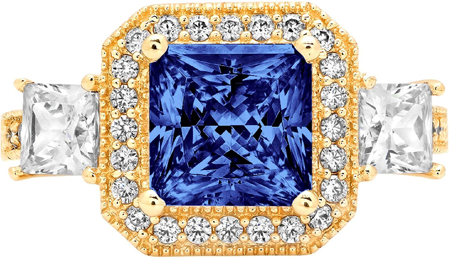 2.98 Cushion Princess Cut Halo Solitaire 3 stone Accent Stunning Genuine Flawless Simulated Blue Tanzanite Modern Promise Statement Designer Ring 14k Yellow Gold