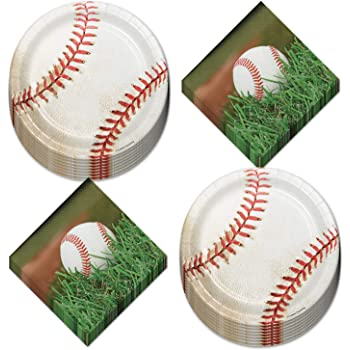 Serve 16 Dinner Plates Baseball Theme Party Supplies Sports Fanatic Bundle for 16