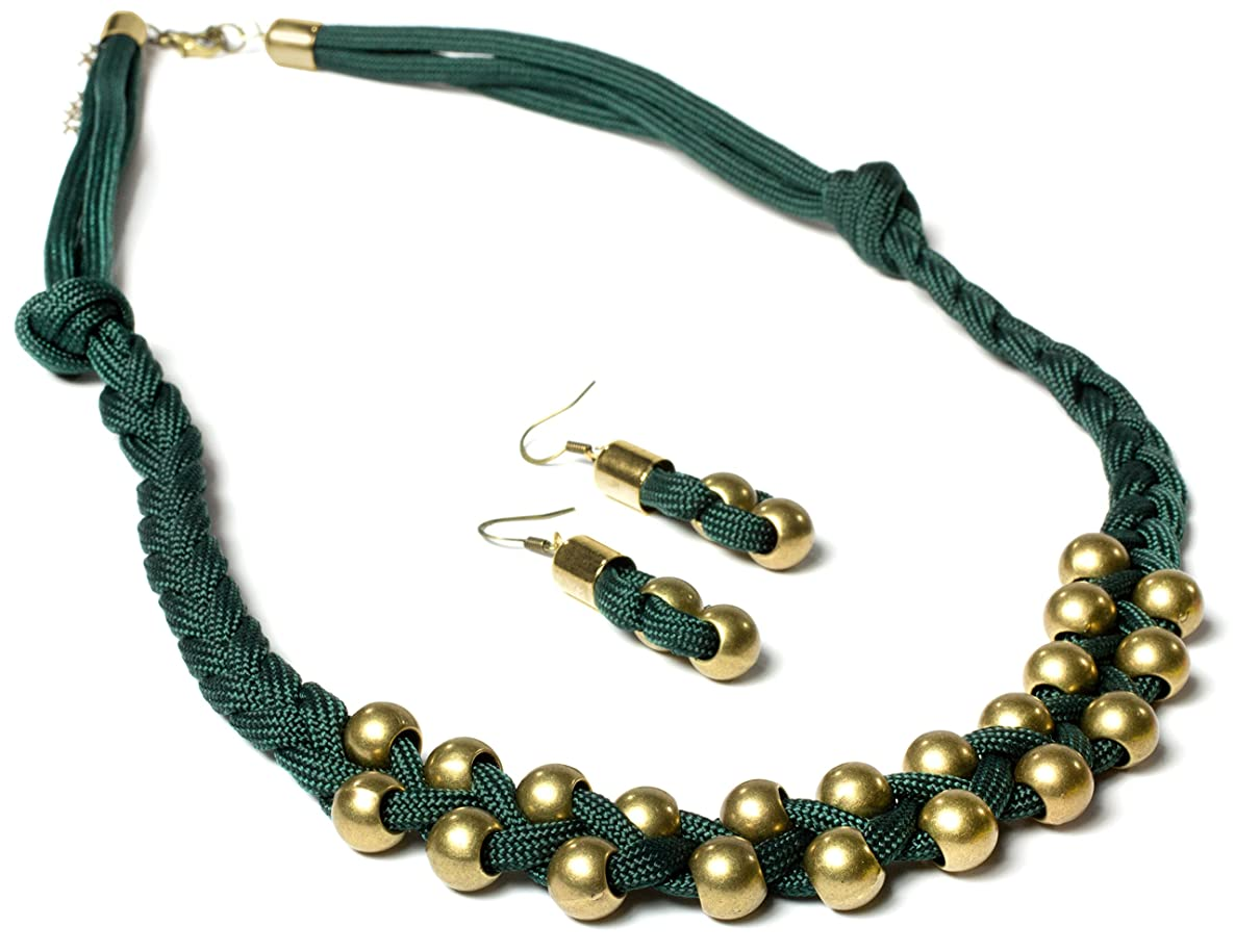 Cousin DIY Paracord Jewelry Kit- Green and Gold Braided Necklace