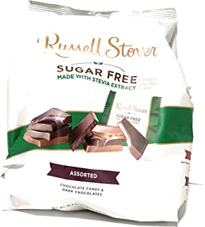 All New Russell Stover Sugar Free Assorted Chocolate Candy and Dark Chocolates, 16.4 oz (one bag)