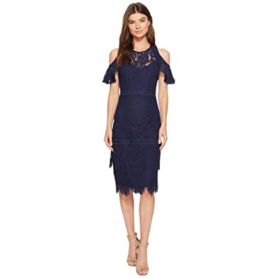 Laundry by Shelli Segal Cold Shoulder Lace Dress (Midnight) Women