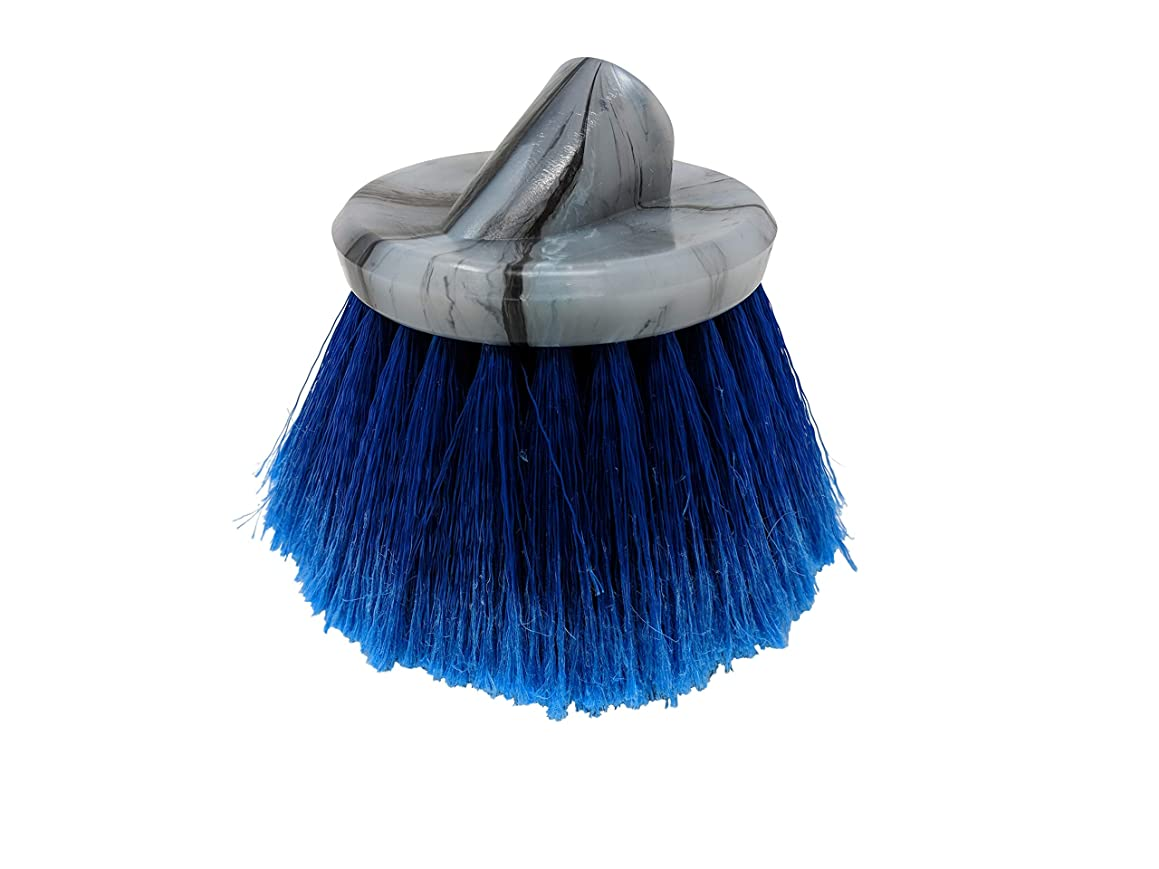 Teravan Blue Round Medium Firm Soft Flow-Thru Brush for Wheel and Utility Cleaning (4 Inch - Long Trim)