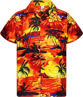 Mens Loud Shirt Funky Festival Party Stag Fancy Dress Floral Holiday Orange Lily