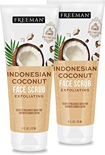 Freeman Beauty Indonesian Coconut Oil Exfoliating Face Sugar Scrub, Skin Care for Women, 2pk Tubes