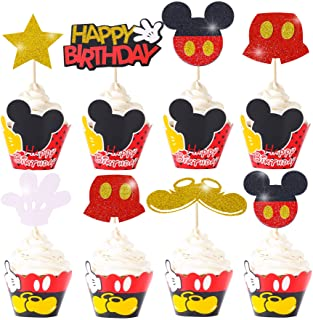 Mickey Mouse Cupcake Cake Toppers Wrappers Mickey Decoration for Baby Shower Mickey Clubhouse Kids Happy Birthday Supplies...