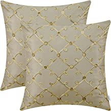 CaliTime Pack of 2 Faux Silk Throw Pillow Covers Cases for Sofa Couch Home Decoration 18 X 18 Inches Gradient Trellis Geometric Chain Embroidered Taupe