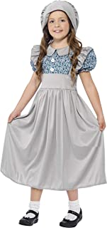 (Ages 4-6) - Smiffys Children's Victorian School Girl Costume, Dress & Hat, Colour: Grey, Size: S, 27532
