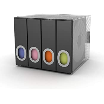 Atlantic Polypropylene Sleeve Disc Organizer - Stack & Lock, Categorize Cds In 4 Color-Coded Binders for 96 Discs Total In Black, PN96635496