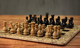 RADICALn 15 Inches Handmade Fossil Coral and Black Marble Full Chess Game Original Marble Chess Set
