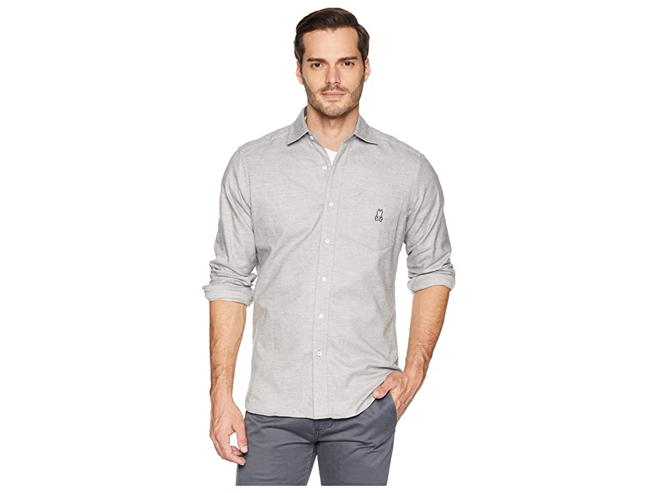 Psycho Bunny Long Sleeve Flannel Shirt (Heather Grey) Men