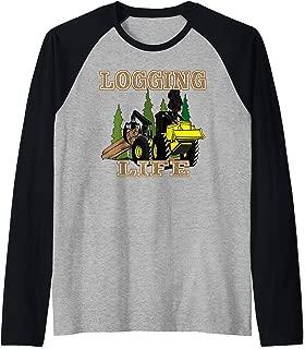 Logging Life Log Truck Gift Raglan Baseball Tee