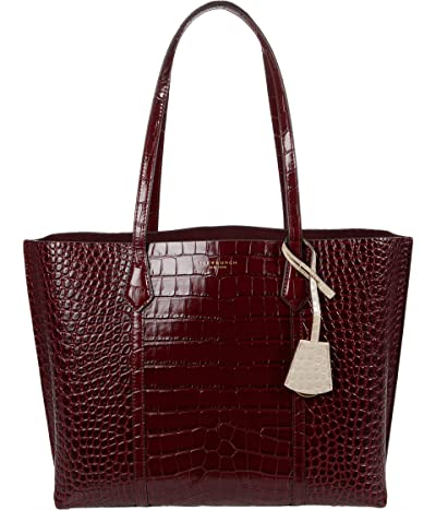 Tory Burch Perry Embossed Triple Compartment Tote (Claret) Handbags