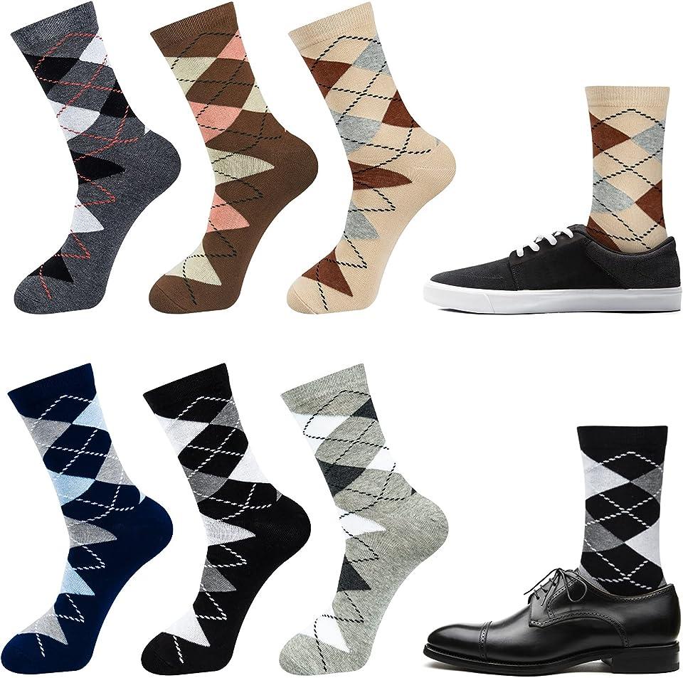 6 Paar Business Socken Herren Karierte Karo Baumwolle Strumpf Socken 39-42 43-46 Schwarz Blau Grau
