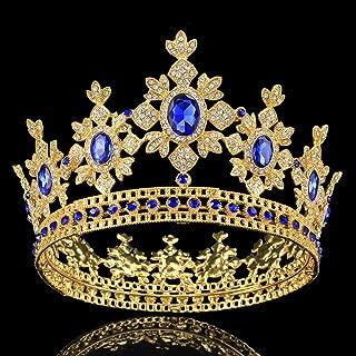 Santfe 3.3 Inch Luxury Antique Gold Plated Crystal Rhinestone Wedding Bridal Prom Party Headpiece Tiaras Crown (Gold blue)