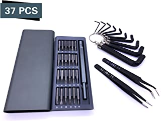 LGCBO Precision Screwdriver Set 25 in 1 Bits Repair Tool Kit Magnetic Driver Kit Aluminum Case for PC, MacBook, Tablet, Xbox(include Allen Wrench Hex Key Set and tweezers)