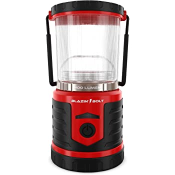 Blazin Brightest LED Rechargeable Lantern | Hurricane, Camping, Storm | Power Bank Light | 400 Hour Runtime (400 Lumen, Red)