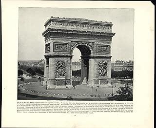Arch of Triumph Paris France Commerates Napoleon 1892 unusual nice vintage print