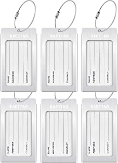 Luggage Tags, LLFSD Metal Suitcase Tags Travel Bag ID Identifier Luggage Tag (Silver 6-Pack)