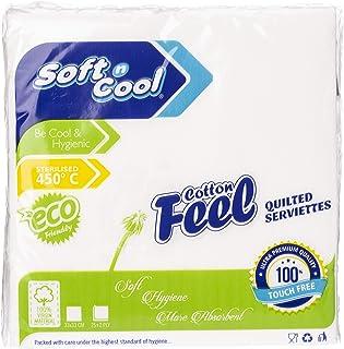 Soft n Cool Cotton feel Paper Napkins,White- 25Pcs- 33CMX33CM- 2Ply