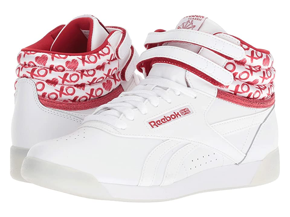 Reebok Kids F/S Hi Lux TXT (Big Kid) (White/Power Red/Silver Metallic) Girls Shoes