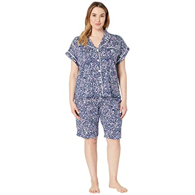 LAUREN Ralph Lauren Plus Size Notch Collar Bermuda Shorts Pajama Set (Navy Floral Print) Women