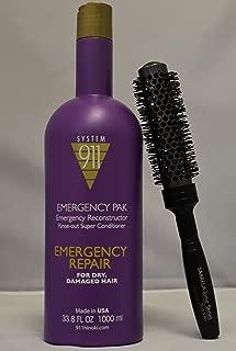Hayashi 911 Emergency Pack 33.8 fl oz with (SARRELA Ionic Hair Brush) Small (33.8 oz/1000 ml - Small Ionic Hair Brush DUO KIT)