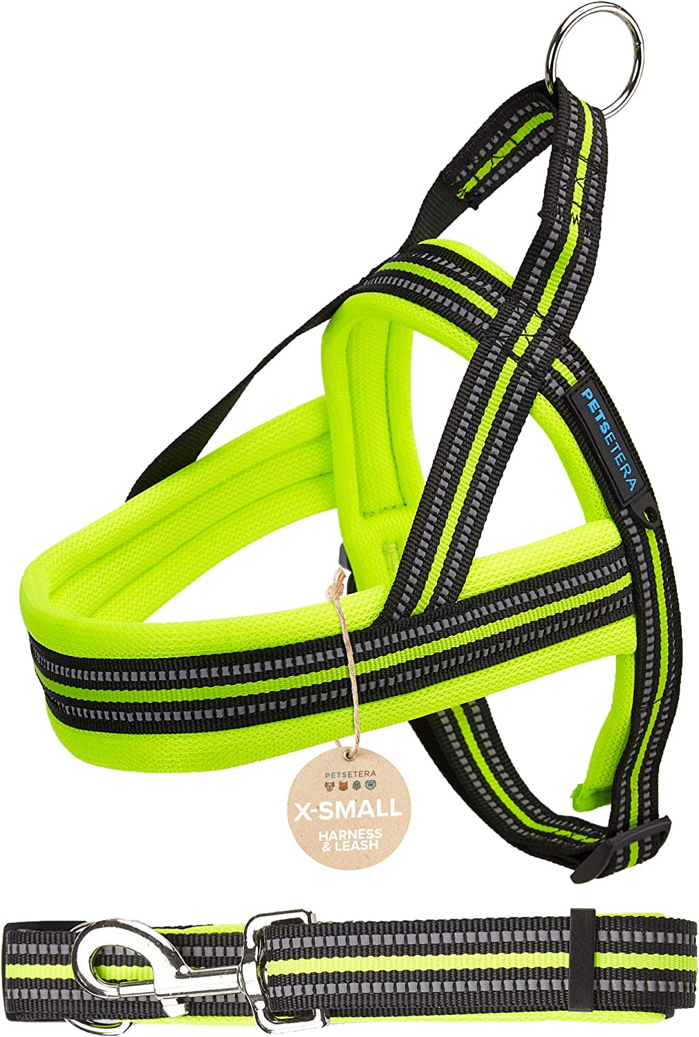 Petsetera Green Pet Leash and Harness Set  Ultra Comfortable Padded Mesh, No Pull Design  Premium Grade Adjustable Reflective Strap  Training, Walking and Jogging Collar for Dogs, XSmall
