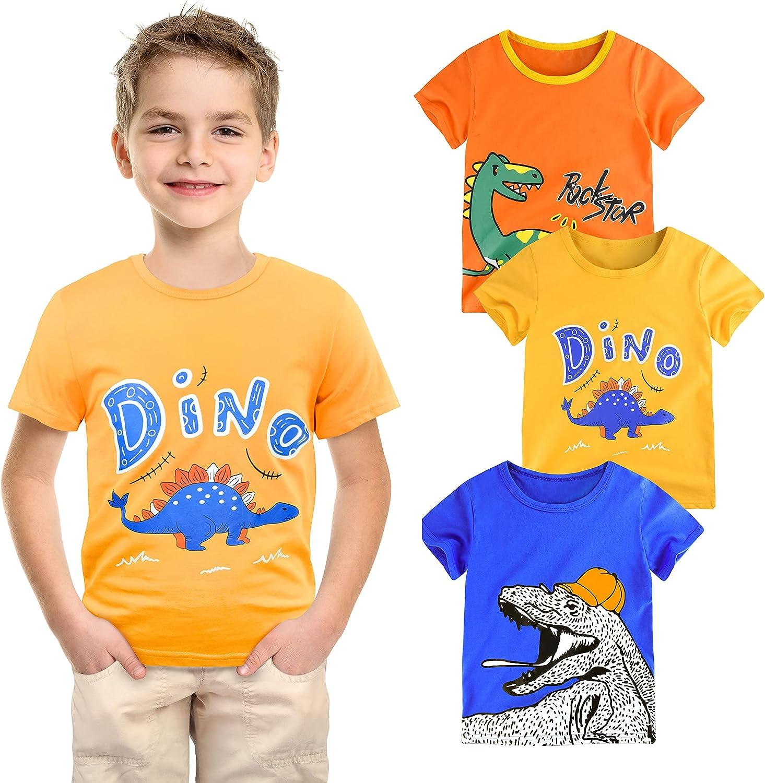 slaixiu Toddler Boys' Tank Tops Sleeveless 3 Pack Cotton Dinosaur Undershirt Set