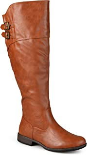 Journee Collection Womens Regular Sized and Wide-Calf Double-Buckle Knee-High Riding Boot