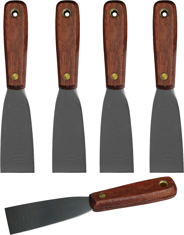 Harrier Wood Handle Putty Scraper Knife, Flexible Blade, 1.5-inch Wide, 5-Pack - -