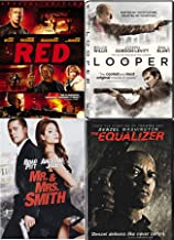Compromised Agents McCall Denzel Washington Equilizer + Mr. & Mrs. Smith + Red & Looper DVD - Bruce Willis Special movie 4 Pack Action Sci-Fi Rockin' Packed Set