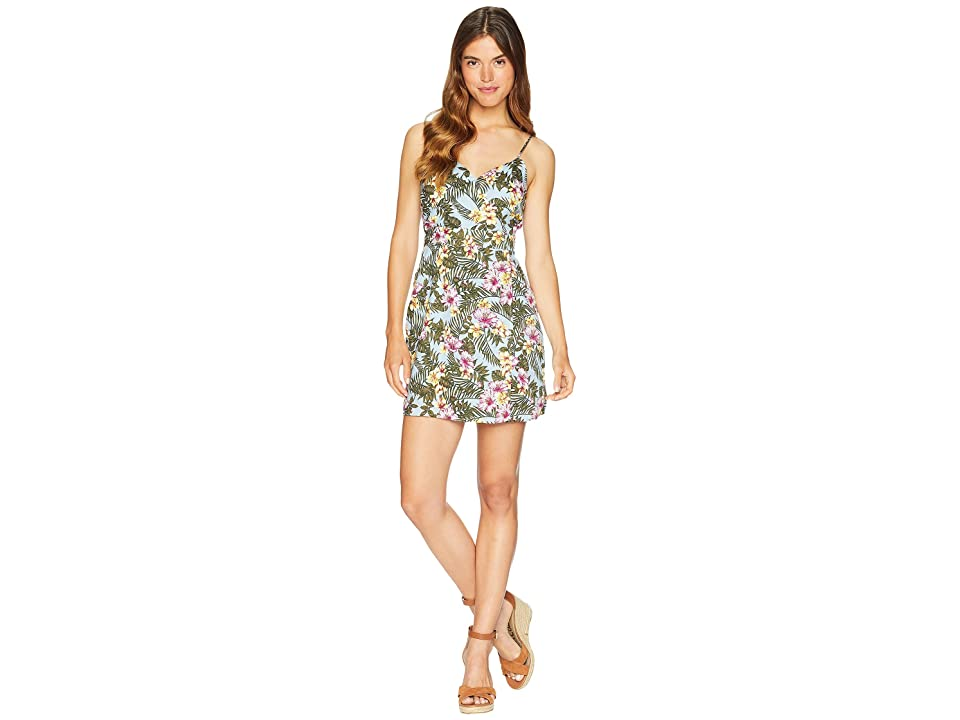 J.O.A. Printed Sleeveless Wrap Dress (Tropical Sky) Women