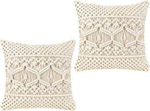 Mkono Throw Pillow Cover Macrame Cushion Case (Pillow Inserts Not Included) Set of 2..