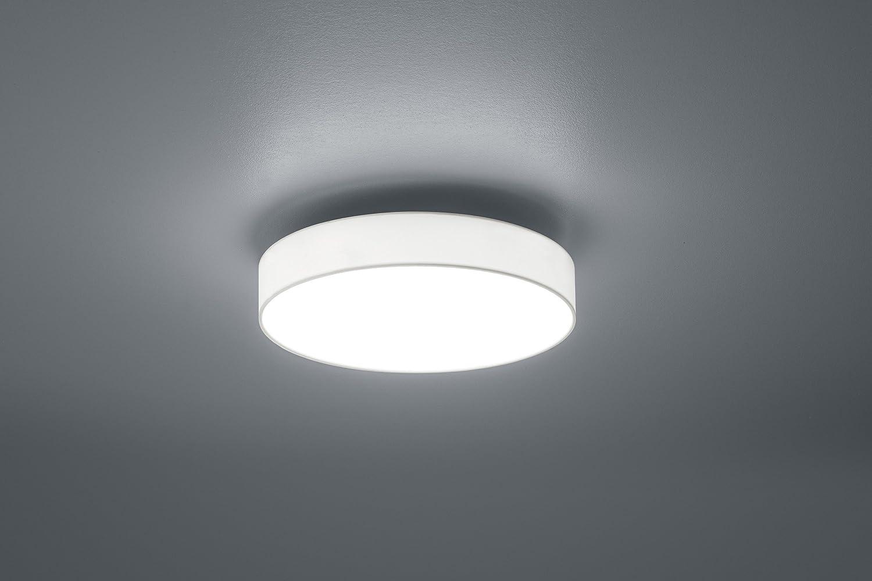 Trio Leuchten 621912411 Lugano A+, LED Deckenleuchte, nickel, 22 watts, Integriert, Stoffschirm Grau, mit Switch-Dimmer,40 x 40 x 10.5 cm Deckenleuchte 40cm Weiß