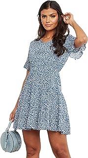 Ditsy Printed V Neck A-Line Mini Women's Dress