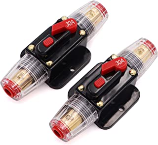 2 Piece 50A 50 Amp Circuit Breaker with Manual Reset Fuse Holder for Car Audio Marine Boat Stereo Switch Inverter Replace ...