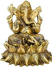 "QT S Lord Ganesha Statue Hindu God Brass Handicraft 6.5"" Ganesh Idol Ganpati Nepal Feng Shui & India Elephant Ganesh for W..."