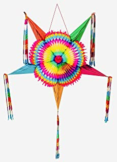 Mexican Traditional Cardboard Star Pinata, Multi Colored Ideal for Birthday Fiesta Party Supplies Decoration.