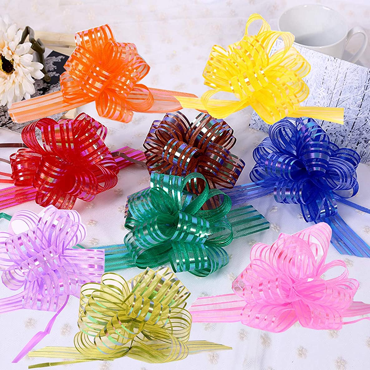 9 Pack Pull Bow, Elegant Beautiful Festival Assorted Colors Crystal Yarn Pull Bows/Christmas Gift/Basket Knot with Ribbon Strings to Wrap The Box or Floral Decoration