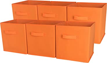 Sodynee SCB6OR Foldable Cloth Storage Cube Basket Bins Organizer Containers Drawers, 6 Pack, Orange