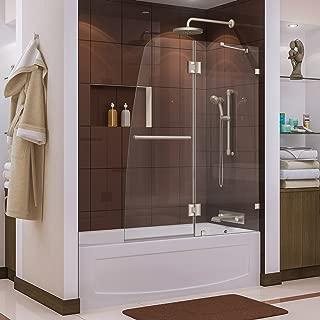 DreamLine Aqua Lux 48 in. W x 58 in. H Frameless Hinged Tub Door in Brushed Nickel, SHDR-3348588-04